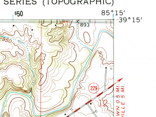 Reduced fragment of topographic map en--usgs--024k--071137--(1961)--N039-15-00_W085-22-30--N039-07-30_W085-15-00; towns and cities Napoleon, Osgood