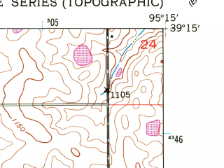 Reduced fragment of topographic map en--usgs--024k--071138--(1951)--N039-15-00_W095-22-30--N039-07-30_W095-15-00; towns and cities Oskaloosa