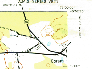 Reduced fragment of topographic map en--usgs--024k--071188--(1947)--N040-52-30_W073-07-30--N040-45-00_W073-00-00; towns and cities Ronkonkoma, Selden, Centereach, Patchogue, Farmingville
