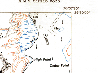 Reduced fragment of topographic map en--usgs--024k--071213--(1949)--N039-30-00_W076-15-00--N039-22-30_W076-07-30; towns and cities Perryman