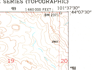 Reduced fragment of topographic map en--usgs--024k--071224--(1953)--N044-07-30_W101-45-00--N044-00-00_W101-37-30; towns and cities Philip