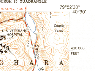 Reduced fragment of topographic map en--usgs--024k--071251--(1951)--N040-30-00_W080-00-00--N040-22-30_W079-52-30; towns and cities Pittsburgh, Munhall, Swissvale, Millvale, Mount Oliver