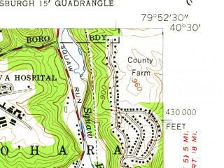 Reduced fragment of topographic map en--usgs--024k--071251--(1956)--N040-30-00_W080-00-00--N040-22-30_W079-52-30; towns and cities Pittsburgh, Munhall, Swissvale, Millvale, Mount Oliver