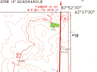 Reduced fragment of topographic map en--usgs--024k--071262--(1958)--N042-37-30_W088-00-00--N042-30-00_W087-52-30; towns and cities Pleasant Prairie