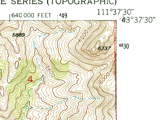 Reduced fragment of topographic map en--usgs--024k--071279--(1951)--N043-37-30_W111-45-00--N043-30-00_W111-37-30