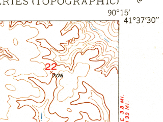 Reduced fragment of topographic map en--usgs--024k--071281--(1950)--N041-37-30_W090-22-30--N041-30-00_W090-15-00; towns and cities Cleveland, Le Claire, Port Byron