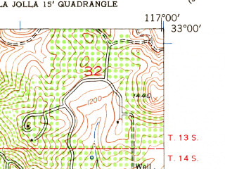 Reduced fragment of topographic map en--usgs--024k--071293--(1952)--N033-00-00_W117-07-30--N032-52-30_W117-00-00 in area of Miramar Reservoir; towns and cities Poway