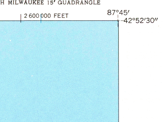 Reduced fragment of topographic map en--usgs--024k--071331--(1958)--N042-52-30_W087-52-30--N042-45-00_W087-45-00; towns and cities North Bay, Wind Point