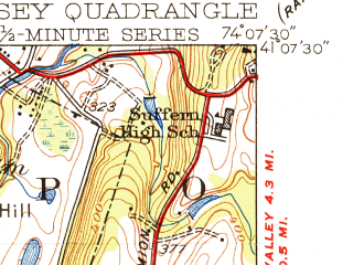 Reduced fragment of topographic map en--usgs--024k--071339--(1943)--N041-07-30_W074-15-00--N041-00-00_W074-07-30; towns and cities Suffern, Oakland, Ramsey, Allendale, Franklin Lakes