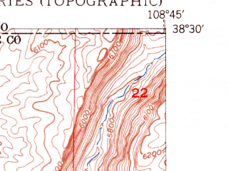 Reduced fragment of topographic map en--usgs--024k--071358--(1950)--N038-30-00_W108-52-30--N038-22-30_W108-45-00
