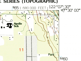 Reduced fragment of topographic map en--usgs--024k--071383--(1949)--N047-30-00_W122-15-00--N047-22-30_W122-07-30; towns and cities East Hill-meridian, Fairwood, Kent