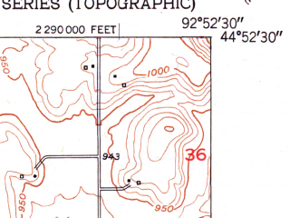 Reduced fragment of topographic map en--usgs--024k--071490--(1951)--N044-52-30_W093-00-00--N044-45-00_W092-52-30; towns and cities Cottage Grove, Newport, St. Paul Park
