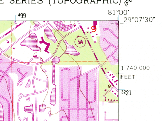 Reduced fragment of topographic map en--usgs--024k--071504--(1952)--N029-07-30_W081-07-30--N029-00-00_W081-00-00; towns and cities Port Orange, Samsula-spruce Creek