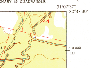 Reduced fragment of topographic map en--usgs--024k--071541--(1954)--N030-37-30_W091-15-00--N030-30-00_W091-07-30; towns and cities Baker