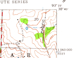 Reduced fragment of topographic map en--usgs--024k--071549--(1944)--N038-45-00_W093-22-30--N038-37-30_W093-15-00