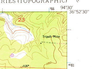 Reduced fragment of topographic map en--usgs--024k--071559--(1949)--N036-52-30_W094-37-30--N036-45-00_W094-30-00; towns and cities Seneca