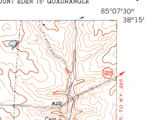 Reduced fragment of topographic map en--usgs--024k--071584--(1954)--N038-15-00_W085-15-00--N038-07-30_W085-07-30 in area of Guist Creek Lake; towns and cities Shelbyville
