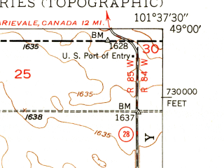 Reduced fragment of topographic map en--usgs--024k--071592--(1949)--N049-00-00_W101-45-00--N048-52-30_W101-37-30; towns and cities Sherwood