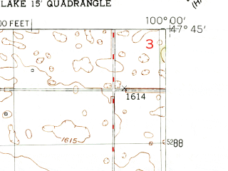 Reduced fragment of topographic map en--usgs--024k--071593--(1950)--N047-45-00_W100-07-30--N047-37-30_W100-00-00