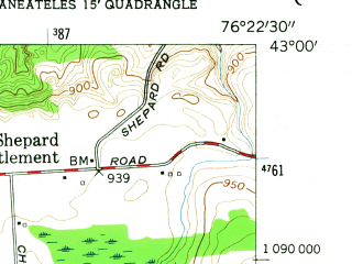 Reduced fragment of topographic map en--usgs--024k--071626--(1955)--N043-00-00_W076-30-00--N042-52-30_W076-22-30; towns and cities Skaneateles