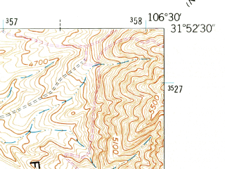Reduced fragment of topographic map en--usgs--024k--071634--(1955)--N031-52-30_W106-37-30--N031-45-00_W106-30-00; towns and cities Sunland Park