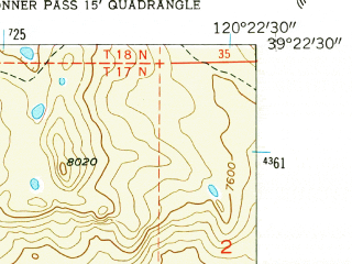 Reduced fragment of topographic map en--usgs--024k--071651--(1955)--N039-22-30_W120-30-00--N039-15-00_W120-22-30 in area of Cascade Lake