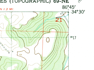 Reduced fragment of topographic map en--usgs--024k--071658--(1951)--N034-30-00_W086-52-30--N034-22-30_W086-45-00; towns and cities Somerville