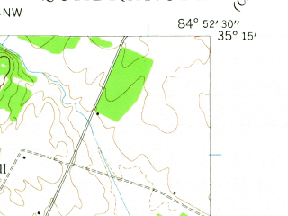 Reduced fragment of topographic map en--usgs--024k--071665--(1943)--N035-15-00_W085-00-00--N035-07-30_W084-52-30; towns and cities Hopewell