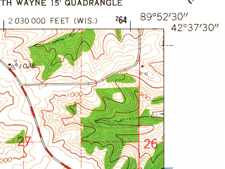 Reduced fragment of topographic map en--usgs--024k--071669--(1962)--N042-37-30_W090-00-00--N042-30-00_W089-52-30; towns and cities South Wayne