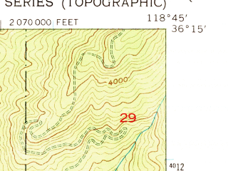 Reduced fragment of topographic map en--usgs--024k--071695--(1957)--N036-15-00_W118-52-30--N036-07-30_W118-45-00