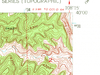 Reduced fragment of topographic map en--usgs--024k--071699--(1952)--N040-00-00_W108-22-30--N039-52-30_W108-15-00