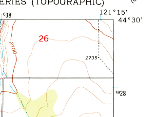 Reduced fragment of topographic map en--usgs--024k--071716--(1962)--N044-30-00_W121-22-30--N044-22-30_W121-15-00