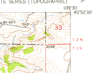 Reduced fragment of topographic map en--usgs--024k--071719--(1955)--N045-52-30_W109-37-30--N045-45-00_W109-30-00