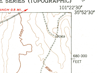 Reduced fragment of topographic map en--usgs--024k--071726--(1953)--N035-52-30_W101-30-00--N035-45-00_W101-22-30; towns and cities Stinnett
