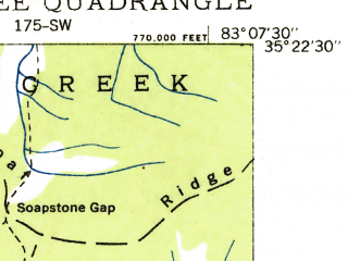 Reduced fragment of topographic map en--usgs--024k--071777--(1935)--N035-22-30_W083-15-00--N035-15-00_W083-07-30; towns and cities Sylva, Webster, Cullowhee