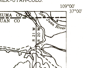 Reduced fragment of topographic map en--usgs--024k--071801--(1953)--N037-00-00_W109-07-30--N036-52-30_W109-00-00; towns and cities Teec Nos Pos