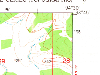 Reduced fragment of topographic map en--usgs--024k--071855--(1950)--N033-45-00_W094-37-30--N033-37-30_W094-30-00
