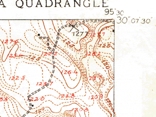 Reduced fragment of topographic map en--usgs--024k--071856--(1916)--N030-07-30_W095-37-30--N030-00-00_W095-30-00; towns and cities Tomball