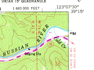 Reduced fragment of topographic map en--usgs--024k--071910--(1958)--N039-15-00_W123-15-00--N039-07-30_W123-07-30 in area of Lake Mendocino; towns and cities Ukiah