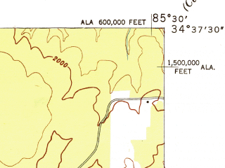 Reduced fragment of topographic map en--usgs--024k--071929--(1947)--N034-37-30_W085-37-30--N034-30-00_W085-30-00; towns and cities Mentone