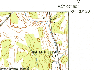 Reduced fragment of topographic map en--usgs--024k--071954--(1942)--N035-37-30_W084-15-00--N035-30-00_W084-07-30; towns and cities Vonore