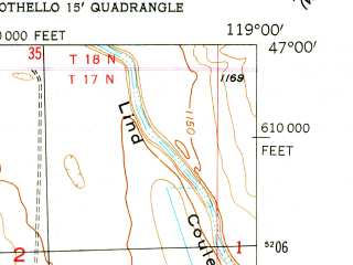 Reduced fragment of topographic map en--usgs--024k--071977--(1954)--N047-00-00_W119-07-30--N046-52-30_W119-00-00; towns and cities Warden