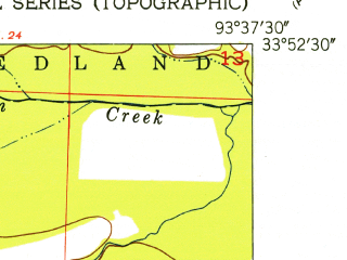 Reduced fragment of topographic map en--usgs--024k--071988--(1951)--N033-52-30_W093-45-00--N033-45-00_W093-37-30; towns and cities Ozan, Washington