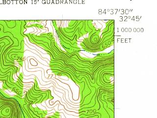 Reduced fragment of topographic map en--usgs--024k--071999--(1955)--N032-45-00_W084-45-00--N032-37-30_W084-37-30; towns and cities Waverly Hall
