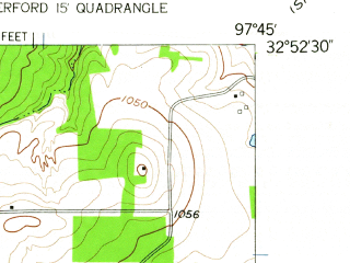 Reduced fragment of topographic map en--usgs--024k--072000--(1959)--N032-52-30_W097-52-30--N032-45-00_W097-45-00; towns and cities Weatherford