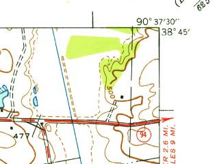 Reduced fragment of topographic map en--usgs--024k--072009--(1937)--N038-45-00_W090-45-00--N038-37-30_W090-37-30; towns and cities Weldon Spring Heights, Weldon Spring