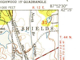 Reduced fragment of topographic map en--usgs--024k--072039--(1953)--N042-15-00_W088-00-00--N042-07-30_W087-52-30; towns and cities Wheeling, Buffalo Grove, Vernon Hills, Indian Creek, Lincolnshire