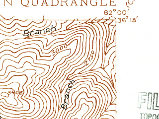 Reduced fragment of topographic map en--usgs--024k--072051--(1934)--N036-15-00_W082-07-30--N036-07-30_W082-00-00; towns and cities Roan Mountain