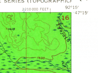 Reduced fragment of topographic map en--usgs--024k--072054--(1956)--N047-15-00_W092-22-30--N047-07-30_W092-15-00