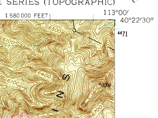 Reduced fragment of topographic map en--usgs--024k--072060--(1955)--N040-22-30_W113-07-30--N040-15-00_W113-00-00